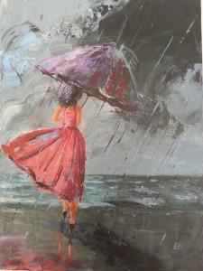 Ombrelles et Parapluies - Robe rose 40 x 30
