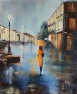 Promenade sous la pluie65 x 54